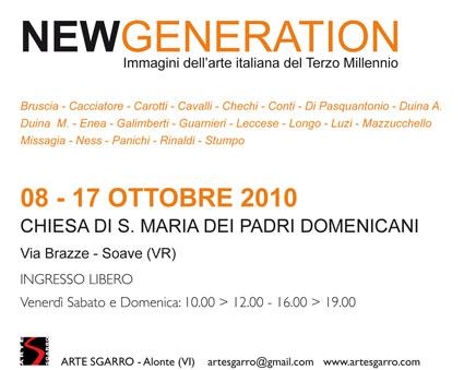 """Invito """"New Generation"""" - Immagini dell'arte italiana del terzo millennio"""