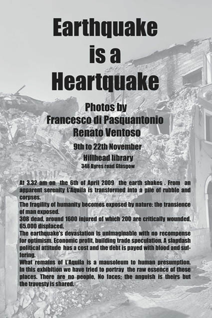 "Glasgow exibition: ""Earthquake is an heartquake"""